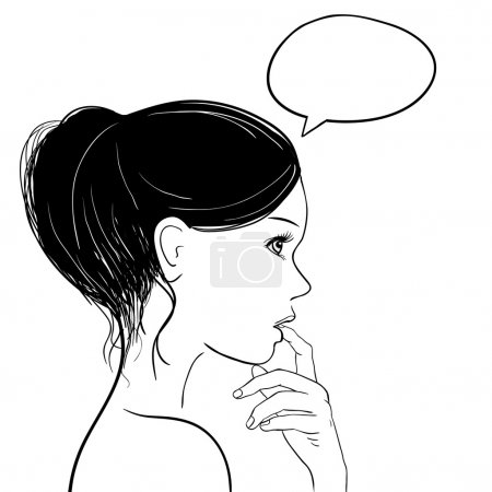 Illustration for Pensive thoughtful woman looking up, Speech bubble at the top of the photo for your text. Illustration. - Royalty Free Image