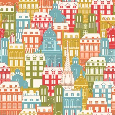 Illustration pour Modèle sans couture avec des bâtiments de la ville. Architecture parisienne. Contexte du voyage . - image libre de droit