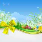 Easter eggs with grass and ribbon Empty space Spring background
