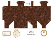 Favor gift product box die cut Coffe and cupcakes pattern Empty label Designer template