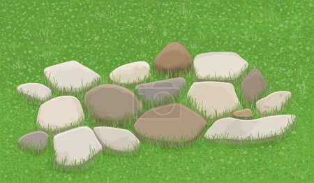 Stone walkway in the grass, illustration...