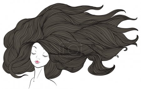 Illustration for Beautiful caucasian girl with long brown hair. illustration. - Royalty Free Image