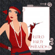 Retro background with flapper girl,  retro party i...