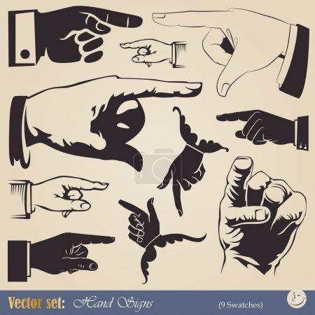 Illustration pour Ensemble vectoriel : mains - geste pointant dans différents styles - image libre de droit