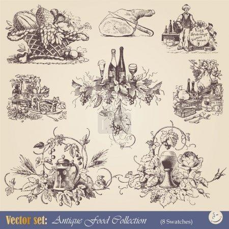 Illustration pour Diverses illustrations de style vintage - cuisine, vin et vinification - image libre de droit