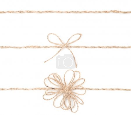 Rope bow. Jute wrapping collection for present. Close up.