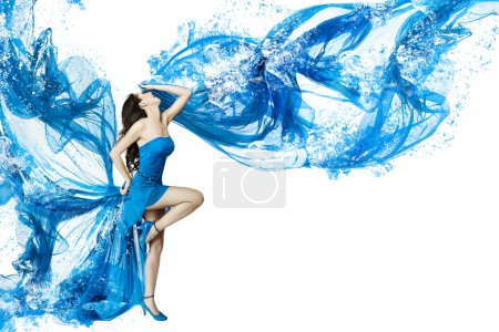 Photo for Woman dance in blue water dress dissolving in splash. Isolated white. - Royalty Free Image