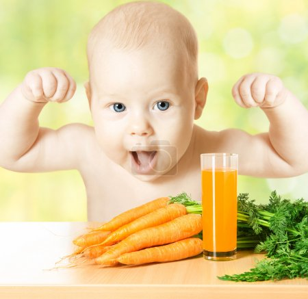Photo for Child and fresh carrot juice glass. Concept: healthy vegetable food diet make baby strong and happy - Royalty Free Image