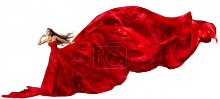 Woman in Red Dress with Flying Fabric, Silk Cloth Waving and Fluttering on Wind
