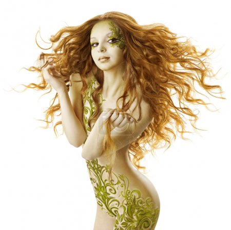 Sexy woman fantasy hairstyle, sensual fashion tattoo makeup, naked beauty girl with long hairs and floral body art