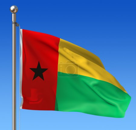Flag of Guinea Bissau waving in the wind against b...