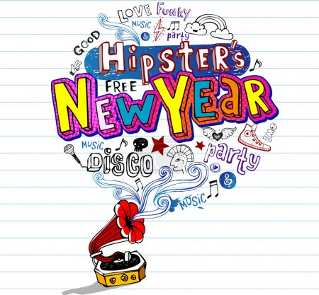 Hipster's New Year, Greeting card