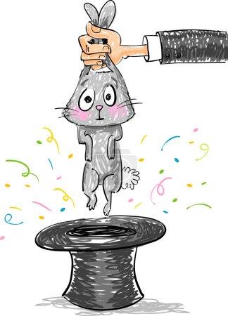 Illustration pour Tour de magie - Lapin sortant du chapeau magique sur fond blanc, illustration vectorielle - image libre de droit