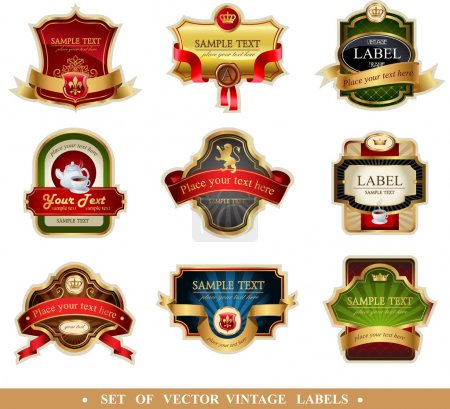 Illustration for Vector frames and ornamental labels set. Easy to scale and edit. All pieces are separated. - Royalty Free Image