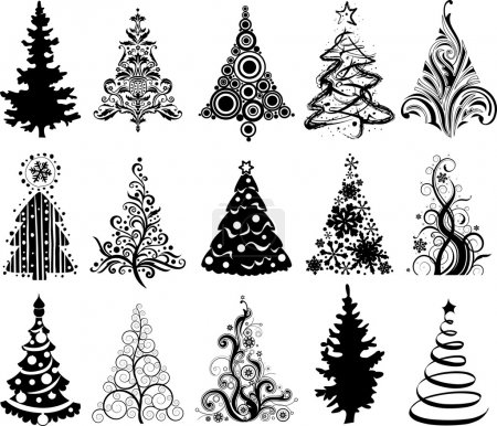 Illustration for Set of 15 modern christmas trees - Royalty Free Image