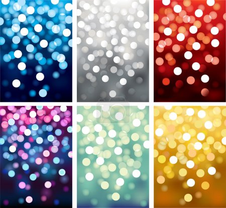 Illustration for Six Vector backgrounds defocused light, no size limit. proportion of A4 format vertical. - Royalty Free Image