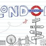 London symbols, icons doodles drawing...