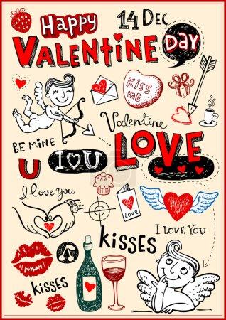 Illustration pour Ensemble de griffes vectorielles valentine - image libre de droit