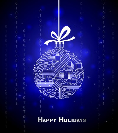 Illustration for Hi-tech Christmas ball on blue background, from a digital electronic circuit - Royalty Free Image
