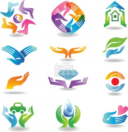 Illustration pour Eléments de conception avec des mains qui tiennent et protègent - image libre de droit