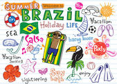 Summer in Brazil - doodles collection - vacation football Brazilian accessories clothes trees musical instruments animals For banners backgrounds presentations