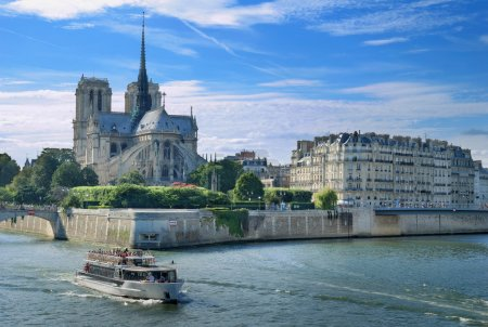 "Photo for Panorama of Cite island with cathedral ""Notre Dame de Paris"" in Paris, France. - Royalty Free Image"