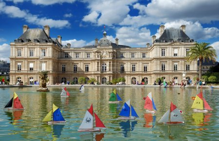 Photo for Children's ships in fountain near to Luxembourg Palace (Palais du Luxembourg) in the Luxembourg Garden (Jardin du Luxembourg) in Paris, France. - Royalty Free Image