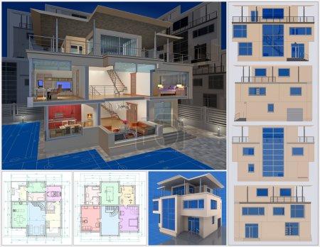 Foto de Presentación de casa residencial. visualización en 3D. - Imagen libre de derechos