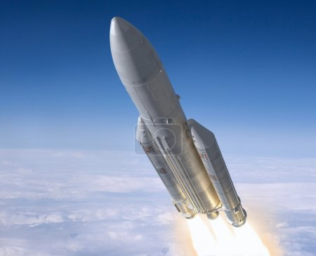 Launch of the carrier rocket. 3d image....