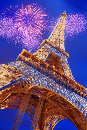 Photo for The Eiffel Tower from below upwards in the evening in Paris, France. - Royalty Free Image