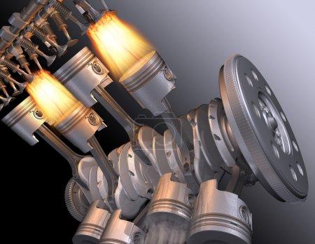 The working motor V8. 3D image....