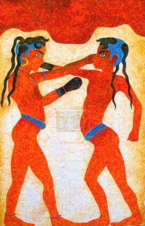 Photo pour Une peinture numérique d'une ancienne fresque de deux garçons boxe prise des ruines d'akrotiri sur l'île grecque de santorin - image libre de droit