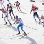 SOCHI, RUSSIA - FEBRUARY 23, 2014: several sportsm...