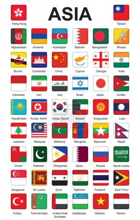 Illustration pour Ensemble de boutons poussoirs avec des drapeaux d'Asie illustration vectorielle - image libre de droit