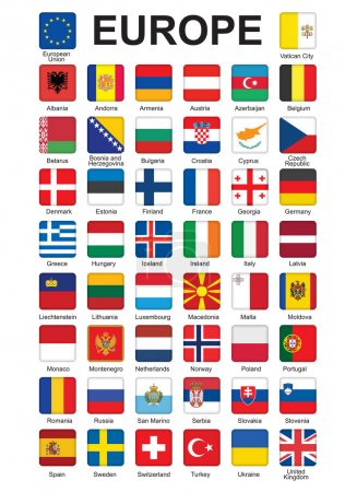 Set of push buttons with flags of Europe vector il...