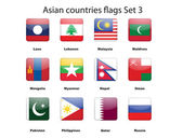 Asian countries flags set 3 vector illustration