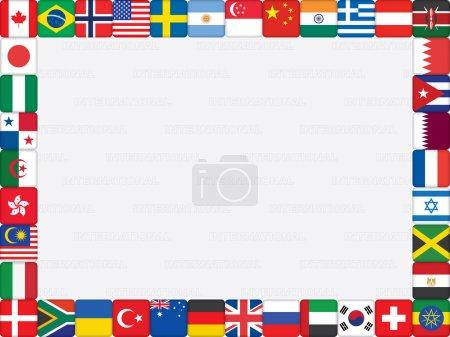 Illustration pour Fond avec l'illustration vectorielle de cadre d'icônes de drapeau du monde - image libre de droit