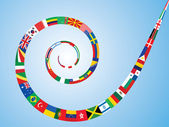Spiral made of world flags