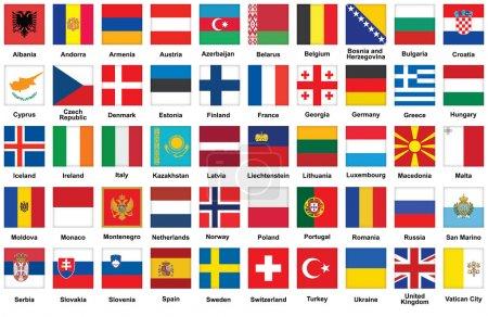icônes avec des drapeaux de l'europe