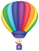 Santa Claus flying on air balloon