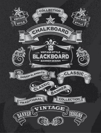 Illustration for Hand drawn blackboard banner vector illustration with texture added - Royalty Free Image