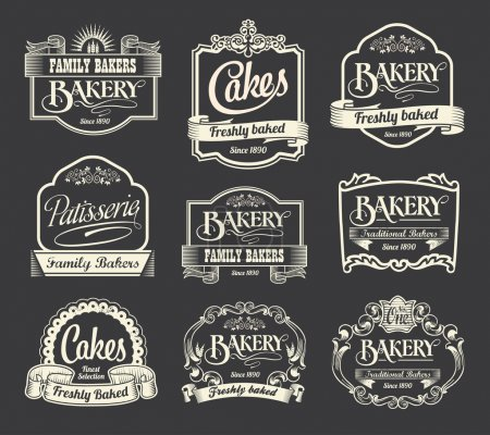 Ilustración de Signos caligráficos retro vintage y etiquetas. elemento de diseño en pizarra. - Imagen libre de derechos