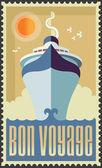 Vintage retro cruise ship - Holiday travel poster illustration