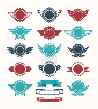 Set of retro vintage badge vector icon set