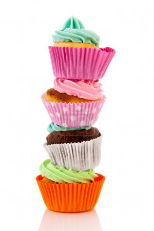 Stacked colorful cupcakes