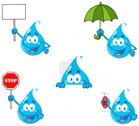 Photo for Blue Water Drop Cartoon Mascot Characters Collection - Royalty Free Image