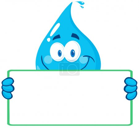 Photo for Cartoon Illustration Of Happy Water Drop Character Holding A Banner - Royalty Free Image