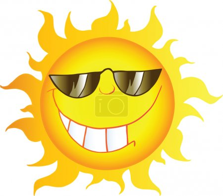 Photo for Smiling Sun Cartoon Character With Sunglasses - Royalty Free Image