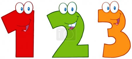 Photo for Numbers One,Two And Three Funny Cartoon Mascot Characters - Royalty Free Image