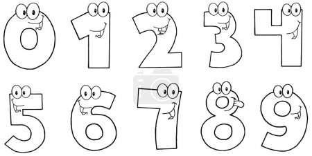 Photo for Outlined Funny Numbers Cartoon Characters.Collection - Royalty Free Image